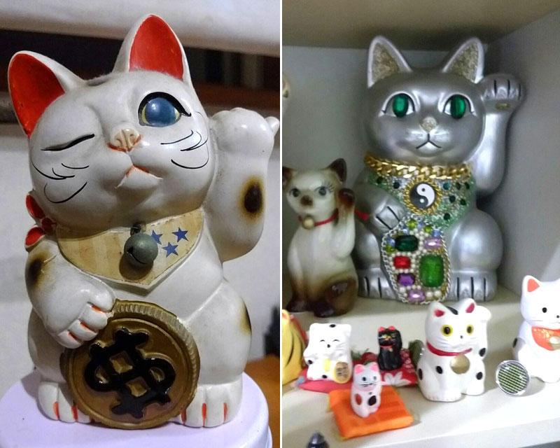 アメリカの招き猫はドルだし手の形が日本と違う