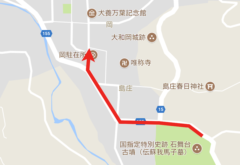 この矢印のように走ります(地図データ:Google、ZENRIN)
