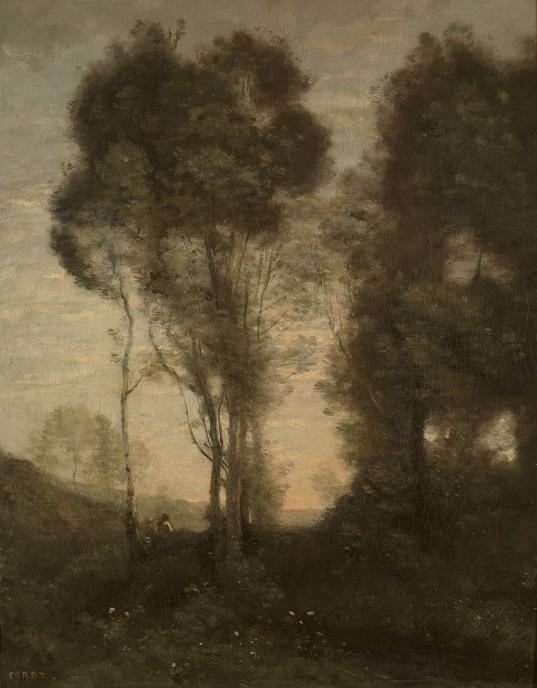 ジャン=バティスト=カミーユ・コロー《夕暮れ》1860-70年 © The Pushkin State Museum of Fine Arts, Moscow.